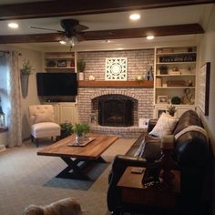 Home Remodeling Living Room Vivier Coffee Table Dream Living Rooms, Living Room Inspiration, Room Remodeling, Rustic Farmhouse Living Room, Room Inspiration, Cozy Living Rooms, Living Room With Fireplace, Home Decor, Room Design