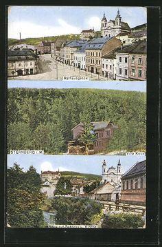 old postcard: AK Sternberg, Rathausgasse, Villa Rosa, Blick auf Schloß und Kirche