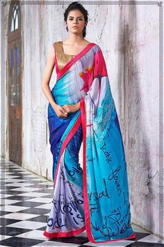 48c7c4dab91fa Shop for designer grey   blue saree   Rs 1640 ! Fancy Blouse DesignsLehenga  SareeGeorgette ...