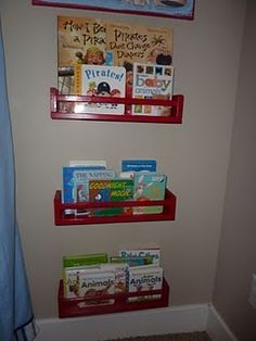 The Inspiration Thief: Home Inspiration: Inexpensive Wall Bookshelves Painted Ikea spice rack bookshelves Ikea Spice Racks As Book Shelves, Spice Rack Bookshelves, Baby Shelves, Painted Bookshelves, Floating Bookshelves, Bookshelves Kids, Book Storage, Bookcases, Storage Ideas