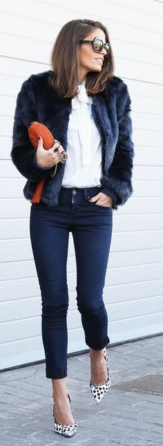 Navy Faux Fur Jacket by Seams For a Desire