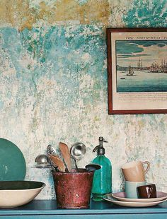 Gorgeous patina in the wall! Faux Walls, Plaster Walls, Textured Walls, Faux Murs, Distressed Walls, Old Wall, Faux Painting, Paint Effects, Wall Finishes