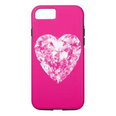 #girly - #Girly hot pink white romantic elegant sweet heart iPhone 7 case