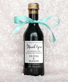 "Say 'thank you' to your wedding guests with these personalized wine bottle labels! Perfect to use for your wedding favors! With this purchase you will receive 1 high resolution PDF that has 15: 2""x2.5"" labels. #weddingideas"