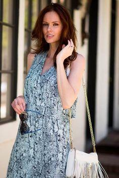Former Miss USA, Alyssa Campanella, in The Grace Dress! #fashion #fall #style #snakeprint #getitnow