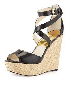 X2M73 MICHAEL Michael Kors Gabriella Patent Leather Wedge Sandal, Black