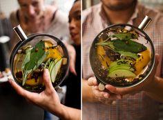 "Cider- cinnamon, white verjus, apple brandy in a ""Porthole"", a 6-inch-diameter cocktail aquarium."
