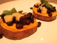 roasted sweet potato rounds, black beans and miso dressing