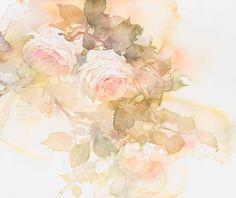 中村愛水彩画作品「春のバラ」