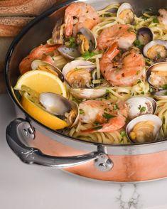 Spicy Linguine with Clams and Shrimp - Zimmy's Nook Lemon Wedge, Linguine, Clams, Manila, Pasta Dishes, Cilantro, White Wine, Shrimp, Spicy