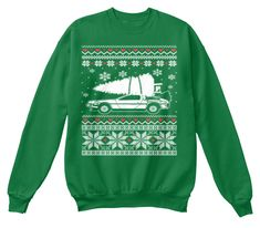Christmas Sweater For Car Lover Kelly Green  Sweatshirt Front