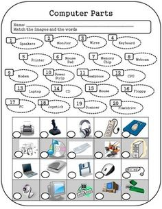 Get to know students computer parts knowledge by having them label the computer parts on this worksheet! Also a good activity for a substitute teacher, or for those students who finish early. Teaching Computer Skills, Computer Lab Lessons, Learn Computer Science, Computer Literacy, Computer Teacher, Teaching Computers, Computer Basics, Computer Class, Computer Technology