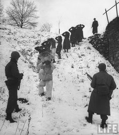 Members of the US 1st Army guarding German prisoners, captured during winter fighting in the Ardennes forest offensive known as the Battle of the Bulge.
