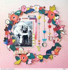 Get a taste of spring with this floral wreath layout by @ellusseau using the beautiful #PickMeUp collection by @PaigeEvans and @PinkPaislee!