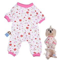 Pet Dog Pajamas Strawberry Printed 4-Legged Jumpsuit Cotton Soft Clothes for Pets Small Dogs Cats Puppy (S)