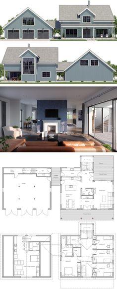 Farmhouse Plans, Home Plans. Architecture #houseplans #housedesigns #architecture #newhome #floorplans #archdaily #farmhouse