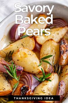 For something a bit different but totally delicious why not try these Savory Baked Pears! Served hot or warm they are just delicious! Great as a side dish to your Thanksgiving Turkey or Christmas Ham. Or just for a Roast Chicken on a Sunday. These roasted Roast Chicken Sides, Side Dishes For Chicken, Roast Dinner Side Dishes, Turkey Side Dishes, Fruit Recipes, Cooking Recipes, Healthy Recipes, Pear Recipes Savoury, Pear Recipes Dinner