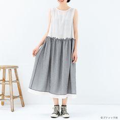 スカートはドッキング風!おしゃれな手作りワンピースの作り方(ワンピース)