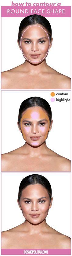 contour for round face shapes Face Contouring Makeup, Eye Makeup, Highlighter Makeup, Contouring And Highlighting, Highlighters, Beauty Makeup, Face Shape Contour, Contour For Round Face, Round Face Makeup