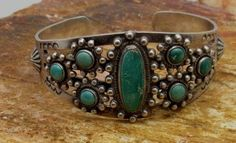 VINTAGE Sterling Silver Ruff Green Turquoise Cuff Bracelet