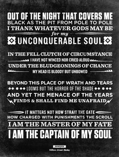 """""""Invictus"""" [Latin 'Unconquerable'], William Ernest Henley Written while he was about recovering in hospital. The Words, Positive Quotes, Motivational Quotes, Inspirational Quotes, Invictus Poem, Great Quotes, Quotes To Live By, Sobriety Quotes, Literature Quotes"""