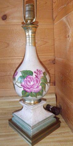 Vintage Victorian Style Pink Wild Rose & Gold Table Lamp Metal Brass & Enamel ?