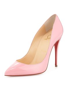 Pigalle Follies Patent Point-Toe Red Sole Pump, Rose | Christian Louboutin