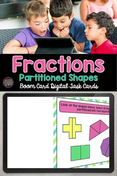 Introducing fractions with partitioning shapes? This Boom Card digital task card deck includes multiple-choice and drag and drop tasks focusing on building understanding of basic math vocabulary used when working with fractions: equal shares, halves, thirds, fourths, whole, quarters. Great for a digital math center activity in second grade! Meets Common Core Math Standard 2.GA.3. Teaching Second Grade, Second Grade Teacher, 2nd Grade Classroom, Third Grade Math, Common Core Math Standards, Common Core Ela, Introducing Fractions, Math Vocabulary, Teaching Phonics