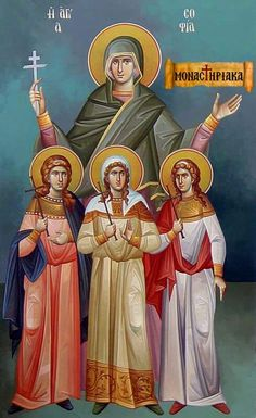 Martyr Sophia with her Daughters Faith, Hope and Love Greek Icons, Byzantine Icons, Orthodox Christianity, Religious Icons, Art Icon, Orthodox Icons, Life Pictures, Christian Art, Saints