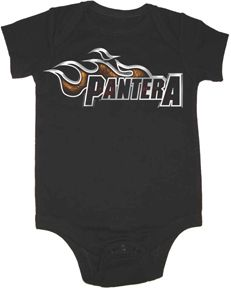 Pantera Lil Dragster Infant One Piece, $18.95 from Punk Baby Clothes -- hell yeah