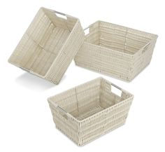 Amazon.com - Whitmor 6500-1959 Rattique Storage Baskets, Latte, Set of 3 - Home Storage Baskets