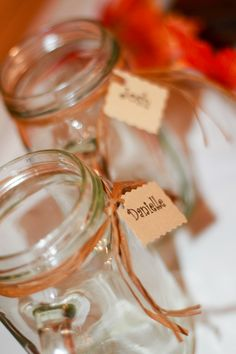 Country fall wedding mason jar glasses for toast