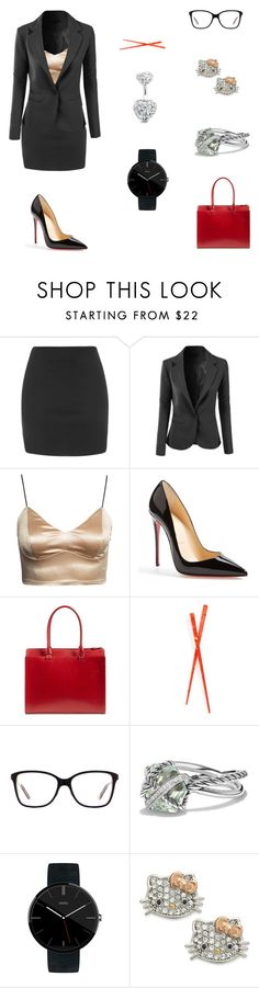 """20161019"" by olivianakamura ❤ liked on Polyvore featuring Topshop, LE3NO, Christian Louboutin, Lodis, France Luxe, Oakley, David Yurman, Motorola, Hello Kitty and Bling Jewelry"