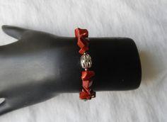 Red Jasper Memory Wire Bracelet by ShadowoftheCross on Etsy