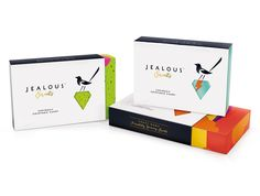 Packaging with die cut sleeve detail designed by B&B Studio for premium confectionery brand Jealous Sweets