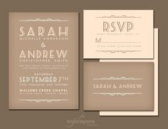 Country Cottage Rustic Wedding Invitation Suite // DIY Printable // Brown, Peach and Green. $45.00, via Etsy.