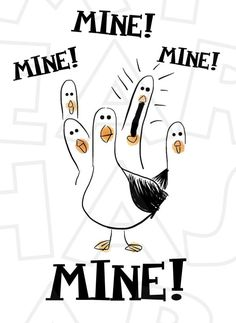 MINE Seagulls from Finding Nemo INSTANT DOWNLOAD digital clip art DIY for shirt :: My Heart Has Ears