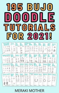 Learn to draw in 2021 with this incredible doodle bundle including 195 doodle tutorials and guides! #bulletjournaldoodles #doodling #drawing
