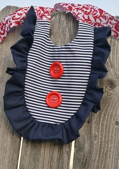 NAUTICAL Ruffle Bib for Baby  NAVY Stripe & RED by apPEARelTREE. Add to any Outfit, Dress, Skirt for little Girl!