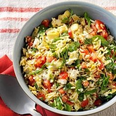 Orzo Vegetable Salad Recipe -Heading to a potluck and need something to share? Tangy lemon dressing over cool orzo and vegetables is everything you want in a light side dish. Orzo Recipes, Vegetable Salad Recipes, Vegetarian Salad Recipes, Best Salad Recipes, Cooking Recipes, Healthy Recipes, Vegetable Pasta, Spinach Recipes, Healthy Salads