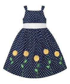 Love this Navy & Yellow Polka Dot Floral Dress - Toddler & Girls by American Princess on #zulily! #zulilyfinds