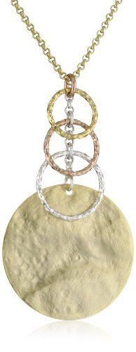 1AR by UnoAerre 18KT Gold Plate Rustic Finish Circle Necklace with Graduated Links 1AR by UnoAerre. $160.00. Made in  Italy