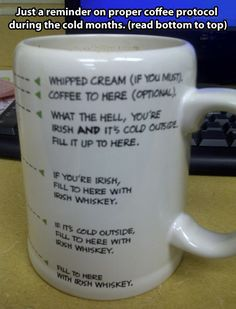 Coffee during the cold months…I'd be more likely to fill this mug with irish cream instead of whiskey