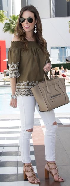 Green Off The Shoulder Blouse & White Ripped Skinny Jeans & Brown Studded Sandals