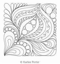 Digital Quilting Design Bliss Block 9 by Karlee Porter. Machine Quilting Patterns, Quilting Templates, Longarm Quilting, Free Motion Quilting, Patchwork Quilting, Quilt Patterns, Embroidery Patterns, Quilling Patterns, Zentangle Patterns
