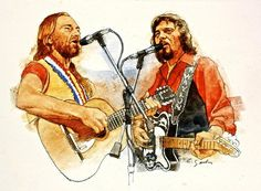 Acrylic Portrait Poster featuring the painting Its Country - 7 Waylon Jennings Willie Nelson by Cliff Spohn Country Singers, Country Music, Outlaw Country, Hank Williams Jr, Play That Funky Music, Waylon Jennings, Lucky Ladies, Thing 1, Willie Nelson