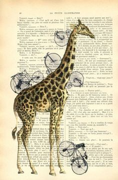 Giraffe with bicycles bicycle art giraffe by MadameMemento