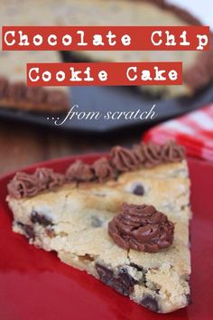 Chocolate Chip Cookie Cake from Scratch Chocolate Chip Cookie Cake, Giant Chocolate, Yummy Treats, Delicious Desserts, Sweet Treats, Vegetarian Chocolate, Chocolate Recipes, Cookie Recipes, Dessert Recipes