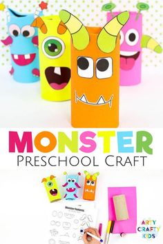 Looking for preschool Halloween crafts for kids to make at home or in the classroom? These toilet paper roll monster crafts for preschoolers are fun + easy to make with our printable templates! Get printables + videos for these monster toilet paper roll crafts for kids + other Halloween crafts for preschoolers here! Preschool Monster Crafts Halloween | Monster Crafts for Preschoolers | Preschool Toilet Paper Roll Crafts | Easy Preschool Crafts | Preschool Halloween Crafts #preschool Halloween Crafts For Kids To Make, Preschool Halloween, Craft Projects For Kids, Easy Crafts For Kids, Halloween Party, Art Projects, Easy Preschool Crafts, Easy Arts And Crafts, Toddler Crafts