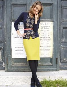 brightly colored skirt, belt, embellished cardi (also: chartreuse, navy, silver, + coral)